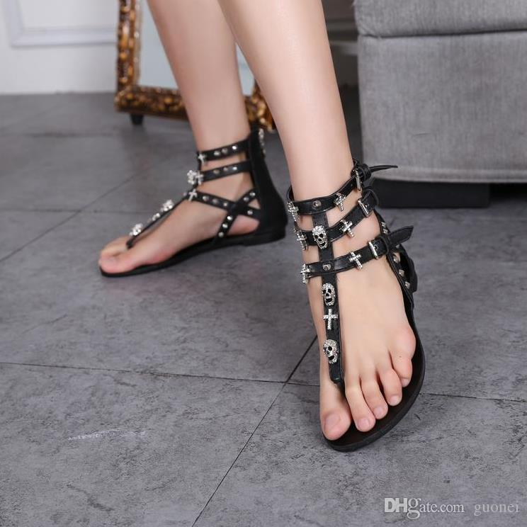 5e6dad316f44 Woman Fashion Thong Sandals Rhinestone Crosses Skull Rome Flops Women Flats  For Women Slippers Ladies Shoes Wedge Sandals Jesus Sandals From Guonei