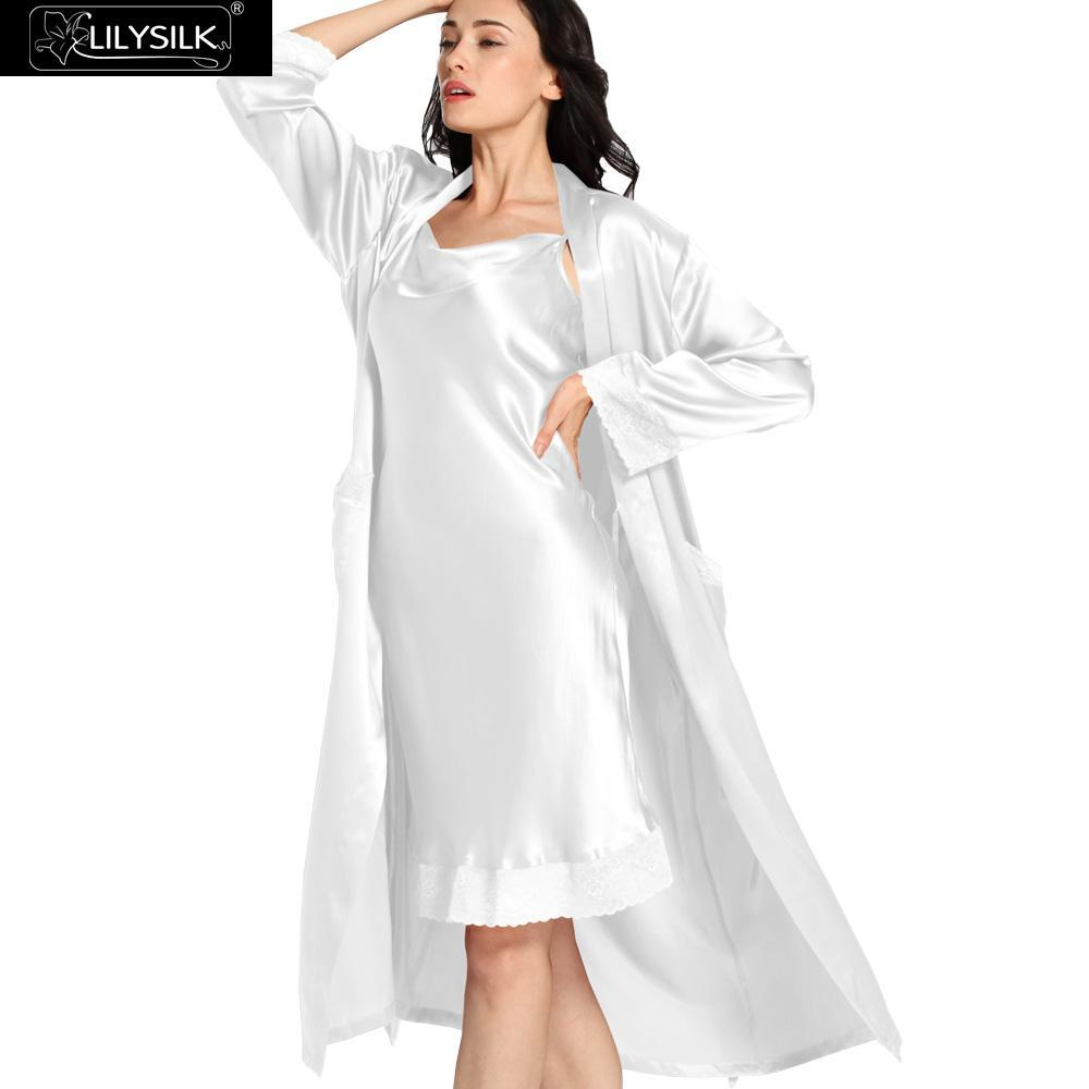 2018 Wholesale Lilysilk 100% Silk Nightgown Robe Set With Pocket ...