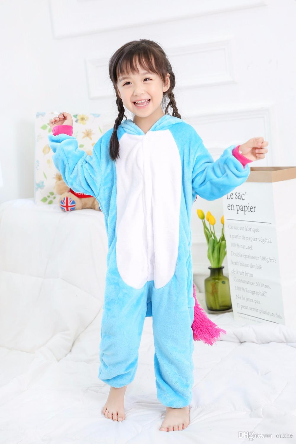 6d5d71b116a6 Anime Kids Colorful Unicorn Onesie Children Horse Cosplay Costumes All In  One Halloween Pyjamas Flannel Warm Pajamas Large Group Halloween Costumes  Disco ...