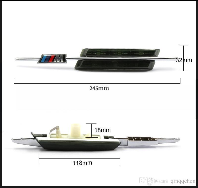 2 unids / set LED Fender Side Side Señals Lámpara de puerta Marcador lateral Light 12V SMD3528 Bombilla Kit para BMW E60 E61 E81 E82 E87 E88 E90 E91 E92 M LOGO