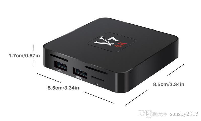 Android 7.1 4K TV Box Rockchip RK3328 Quad Core 1G/8G Smart Mini PC V7 3D HDMI Streaming Media Player Wifi Set Top Box