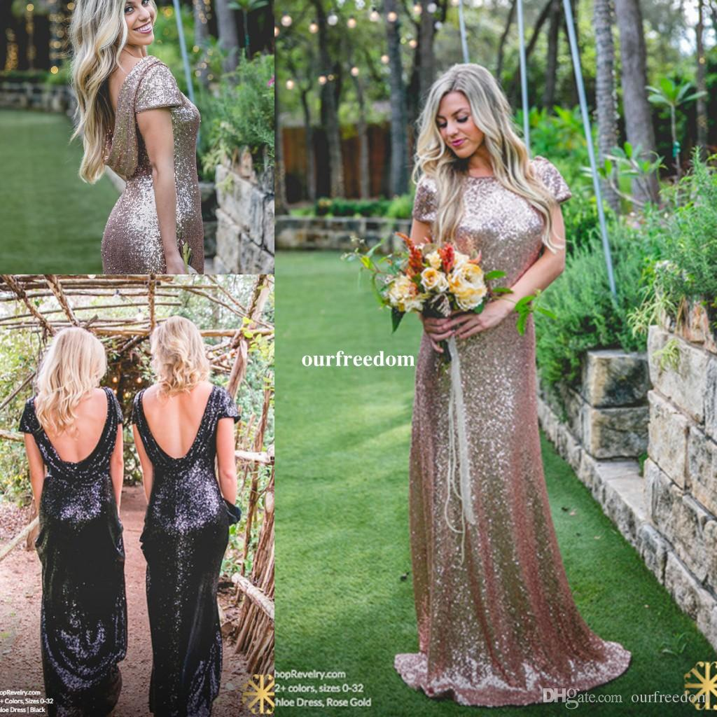 ae7acaeeef2 Sparkly Rose Gold Cheap 2017 Mermaid Bridesmaid Dresses 2016 Short Sleeve  Sequins Backless Long Beach Wedding Party Gowns Gold Champagne Bridesmaid  Dress ...