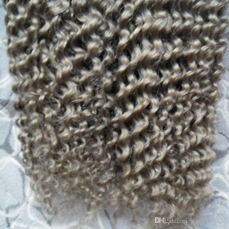그레이 헤어 위빙 브라질 머리 위브 번들 200g 브라질 변태 곱슬 처녀 회색 곱슬 머리 인간의 머리카락