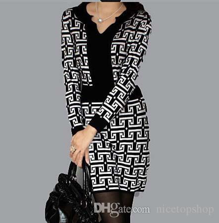Весна новое прибытие женщин платье с длинным рукавом сетки V-образным вырезом One Piece платья оптовые продажи