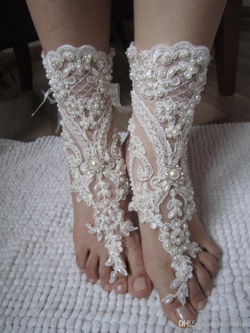 Elegant Lace Beach Wedding Barefoot Sandals 2017 New Pearls Anklet Chain Cheap Custom Made Bridal Bridesmaid Jewelry Foot