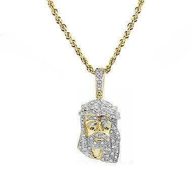 Wholesale 10k yellow gold real diamond mini jesus pendant charm rope wholesale 10k yellow gold real diamond mini jesus pendant charm rope chain set 033ct 13 charm necklace pendants from wuchun68 5572 dhgate aloadofball Image collections