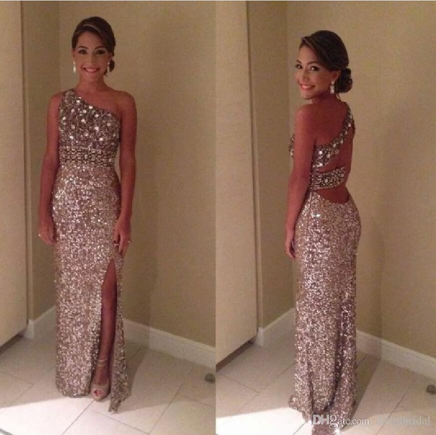 Sparkly Glitter Split Prom Dresses 2017 Sequin Long One Shoulder
