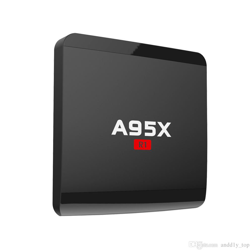 S905W Android 7.1 TV Kutusu A95X R1 Amlogic Dört çekirdekli Cortex A7 1G 8G 4 K * 2 K 2.4G WiFi HDMI Daha APPs Akıllı OTT Media Player En Iyi Hediye