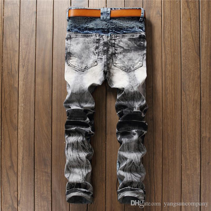 2017 New Fashion Designers Mens Ripped Pencil Stretch Jeans Boot Cut Slim Fit Skinny Biker Jeans Pants Famous Brand Mens Jeans For 4 Season