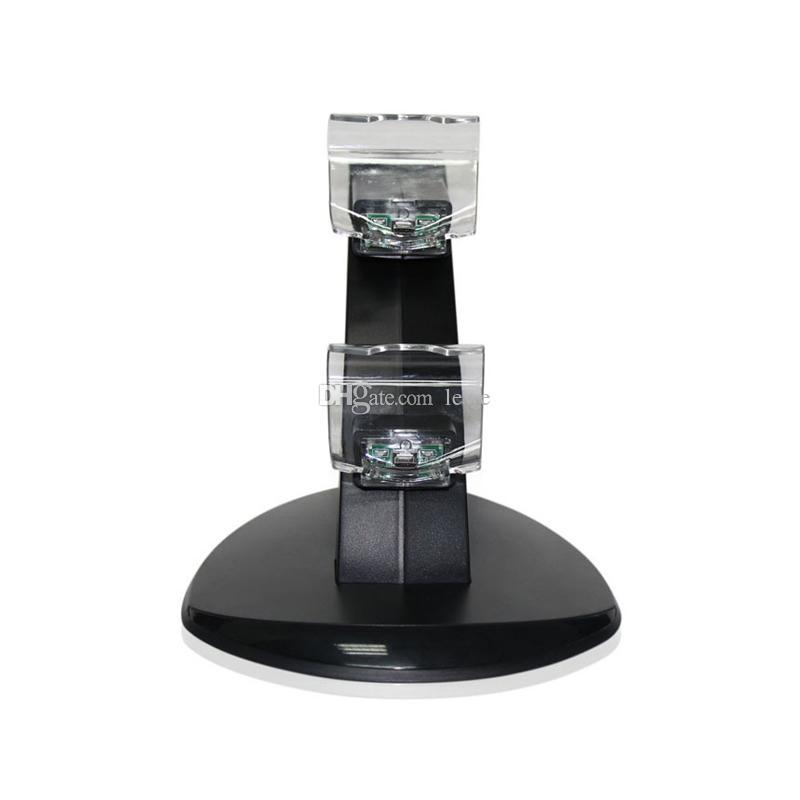 Novo Atacado controlador de jogo carregador de bateria carregador de luz azul dual usb carregador de disco para PS4