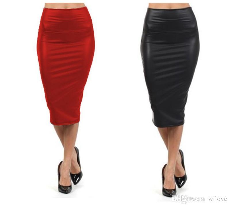 Kadınlar Seksi Siyah Kırmızı Kadınlar Yüksek Waisted Etek Kalem Etek Deri Etek Artı Boyutu Parti Elbise