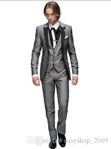 Peak Lapel Best Man Suit Grey Groomsman Men's WeddingProm Suits Groom Tuxedos 3 jacket + pants + vest custom