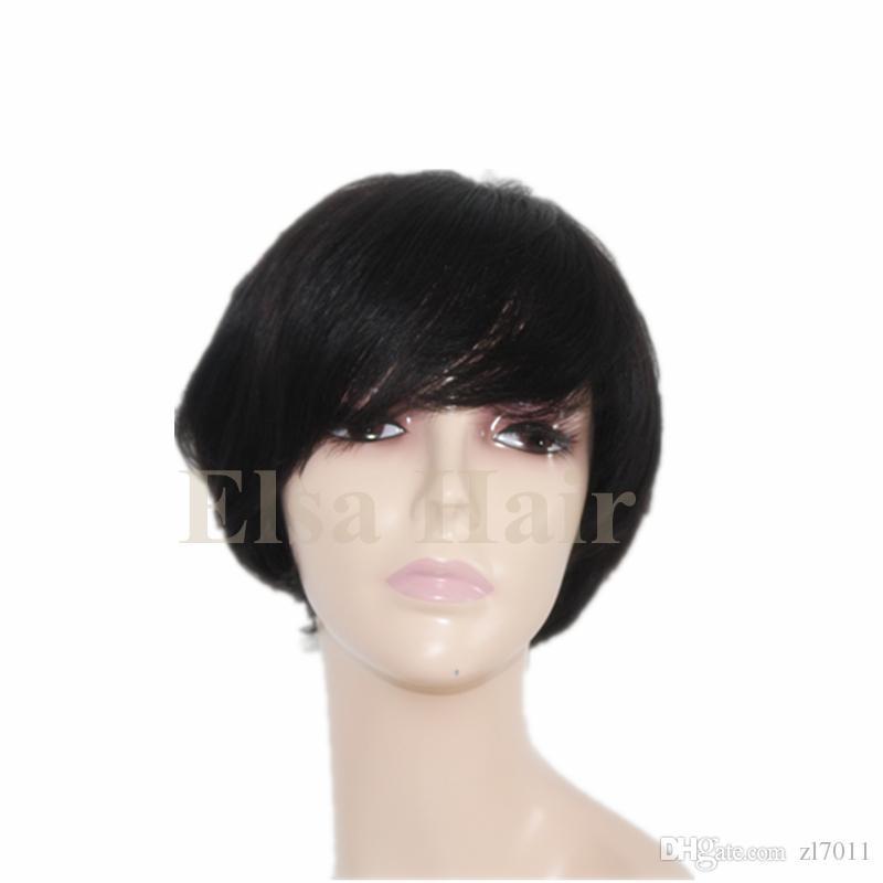 Parte Dianteira do laço Em Linha Reta perucas de cabelo Humano Barato Pixie Corte curto com o cabelo do bebê estilo de corte de cabelo africano brasileiro Senhoras peruca para as mulheres negras