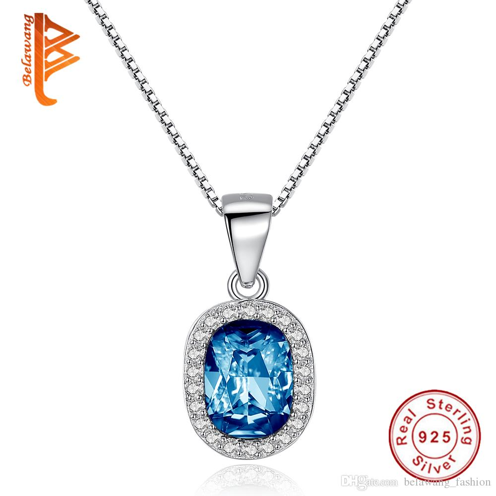 Wholesale BELAWANG Necklace For Valentine S Day Jewelry Gift 925 Sterling  Silver Deep Blue Crystal Stone Necklace Oval Shape Pendant Necklace Diamond  ... 55c0d281b206