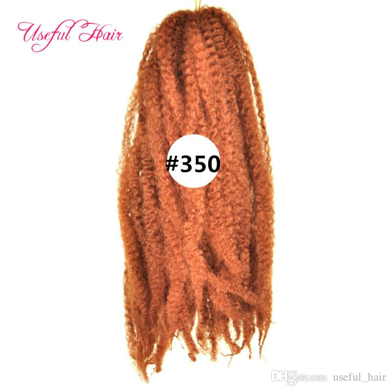 Sentetik sarışın kinky kıvırcık 18 inç Afro kinky marley örgü kıvırcık saç uzatma 100 gram marley örgü saç tığ örgüler saç bolote