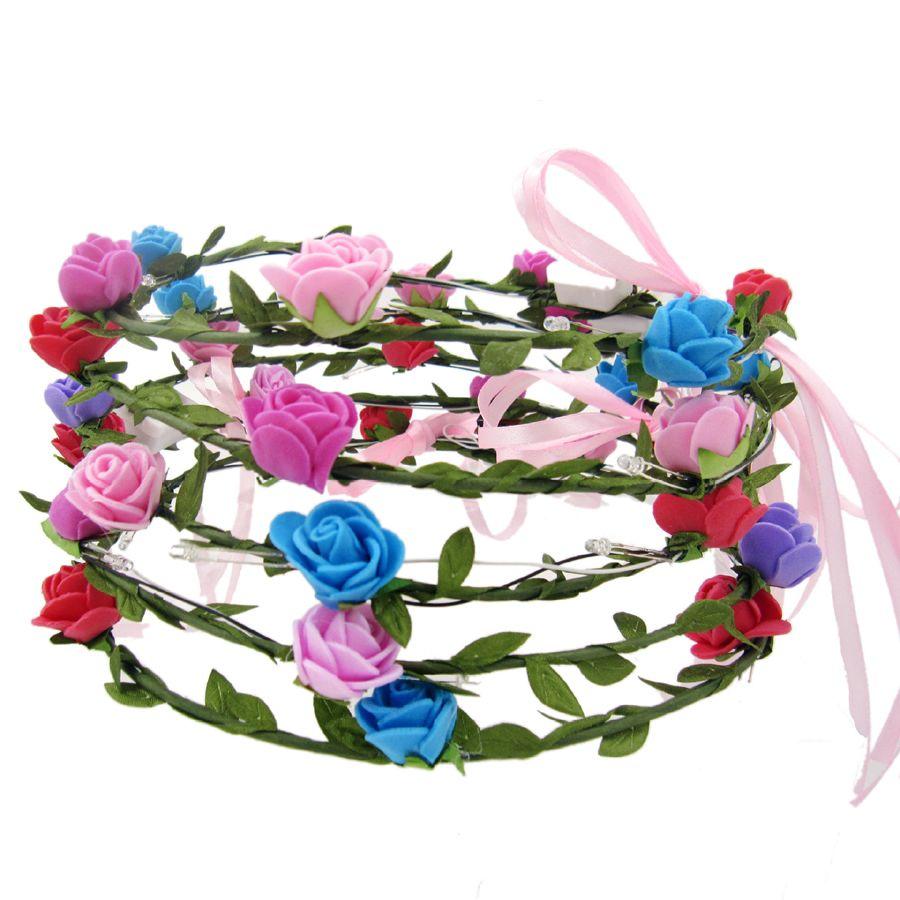 Flashing LED Tiara Headbands Boho Flowers Hairband Romantic LED Headwear Glowing Head Wreaths for Girls Women Party Décor