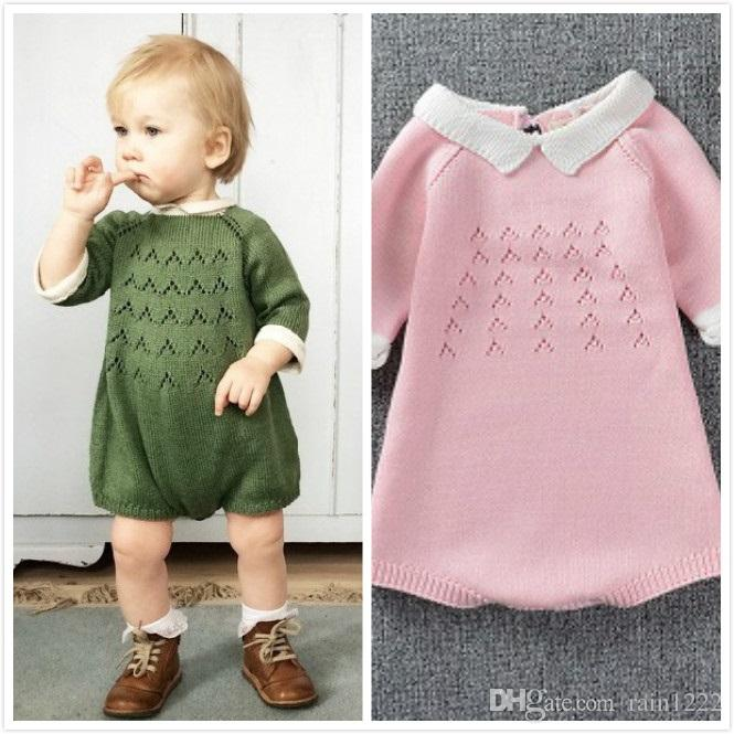 1a7157714d27 2019 Baby Woolen Rompers Jumpsuits Infant Toddler Sweater Jumpsuits ...