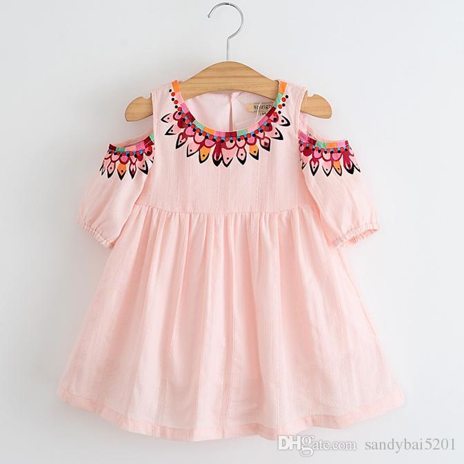 Online Cheap Baby Girls Summer Dress 2017 Spring Kids Girls Floral Print  Dresses Princess Off Shoulder Tutu Dress For Party Children Clothing By