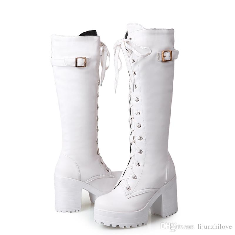plus size 34-43 Sexy square high heel Knee High Boots Women Lace Up Thick Platform Winter Shoes With Fur Snow Boot