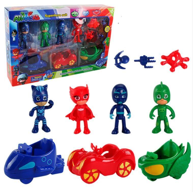 2018 kid 39 s funny hero pj mask figure toys pj masks gliding car series catboy gekko cartoon anime. Black Bedroom Furniture Sets. Home Design Ideas