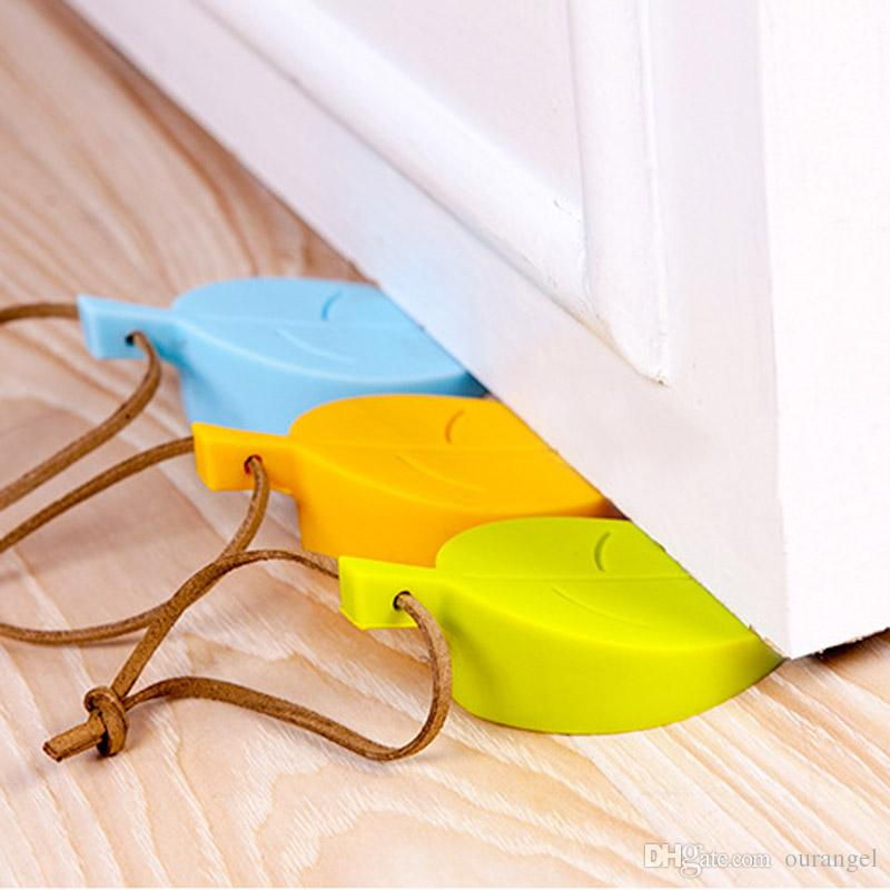 Silicone Door Stopper Wedge Finger Protector - Cute Cartoon Leaf Style Flexible Silicone Window / Door Stops with Lanyard for Home Office