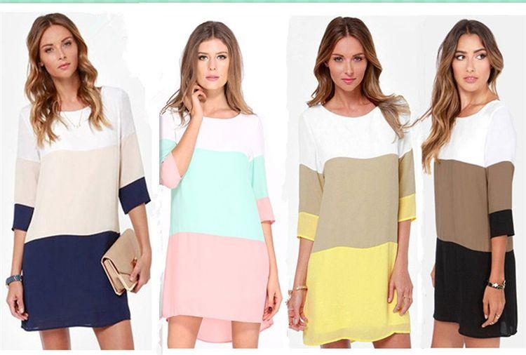 Üç renkli dikiş elbise geri bölünmüş 4 renkler 2017 yaz kadın elbiseler ofis parti plaj elbise artı boyutu LM-107