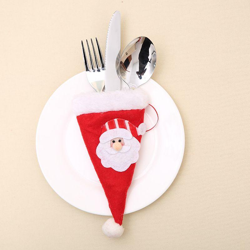 Christmas Cute Mini Bottle Hat Xmas Decoration Hat Silverware Holder Mini Red Santa Claus Cutlery New Year Supplies S2017408