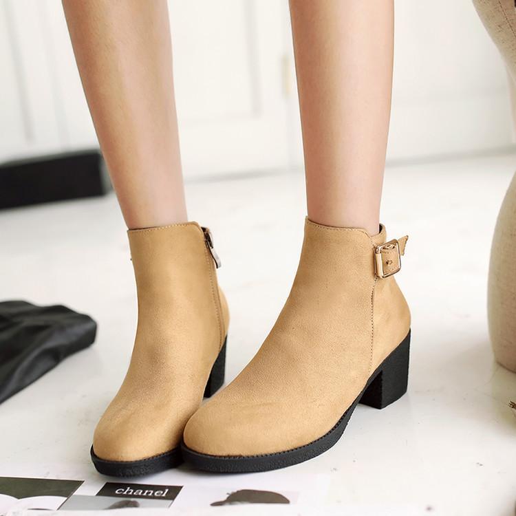Плюс размер женская обувь 41 - 43 сапоги на высоком каблуке женские толстые  каблуки 40 42 короткие Большие женские туфли бесплатная доставка 4235573e60db0