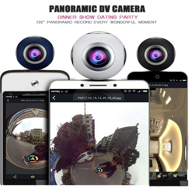 Mini Hava Panoramik Kamera HD 360 Derece kamera Spor Çift Geniş Açı Balık Gözü Lens Andriod Smartphone Için VR Kamera