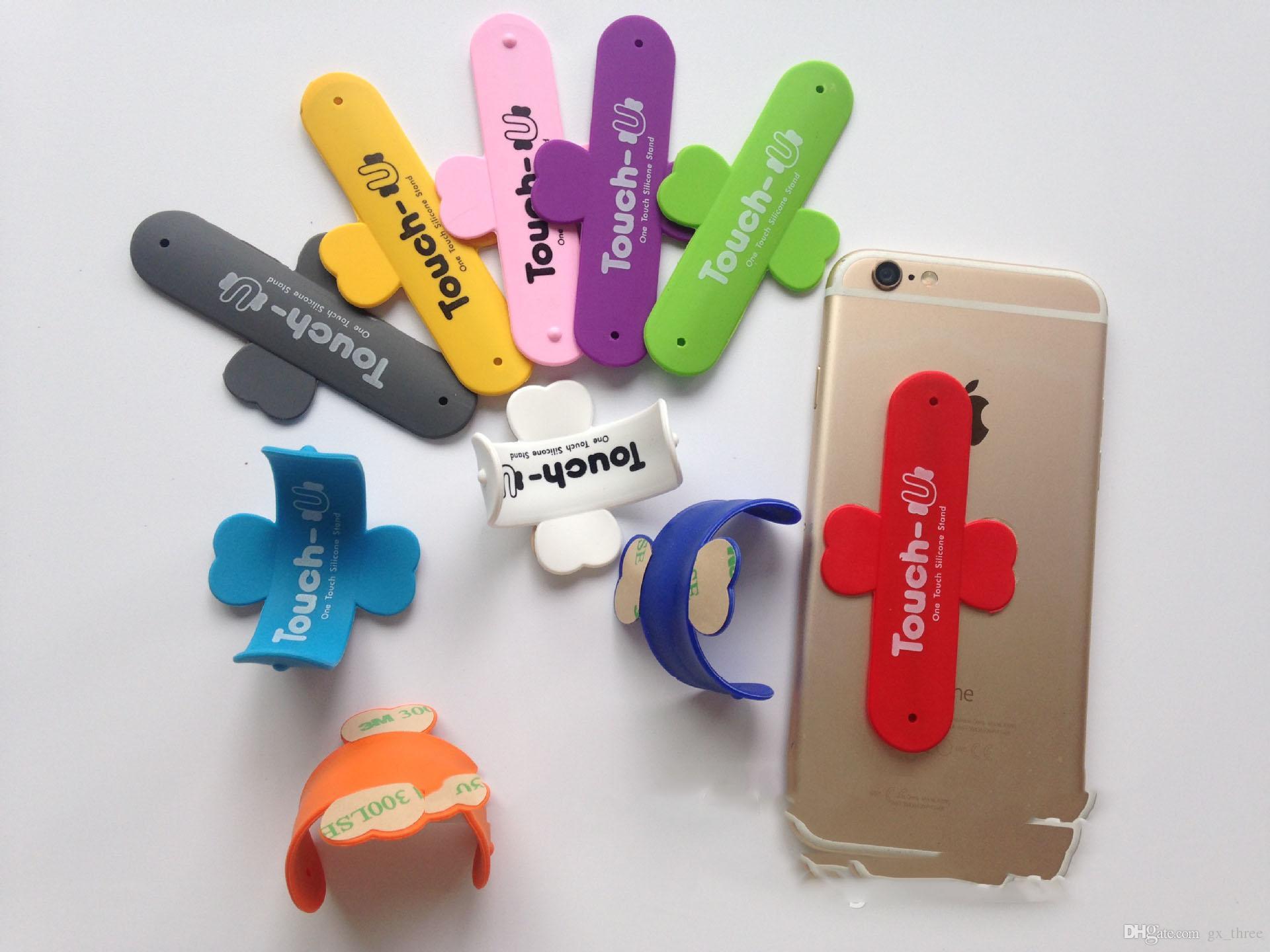 Portable Corée Du Sud Touch U-forme Téléphone Stent Retour Pâte Titulaire 3M Autocollant Tactile Silicone Fente Pour Carte de Crédit support en silicone pour iphone X 8