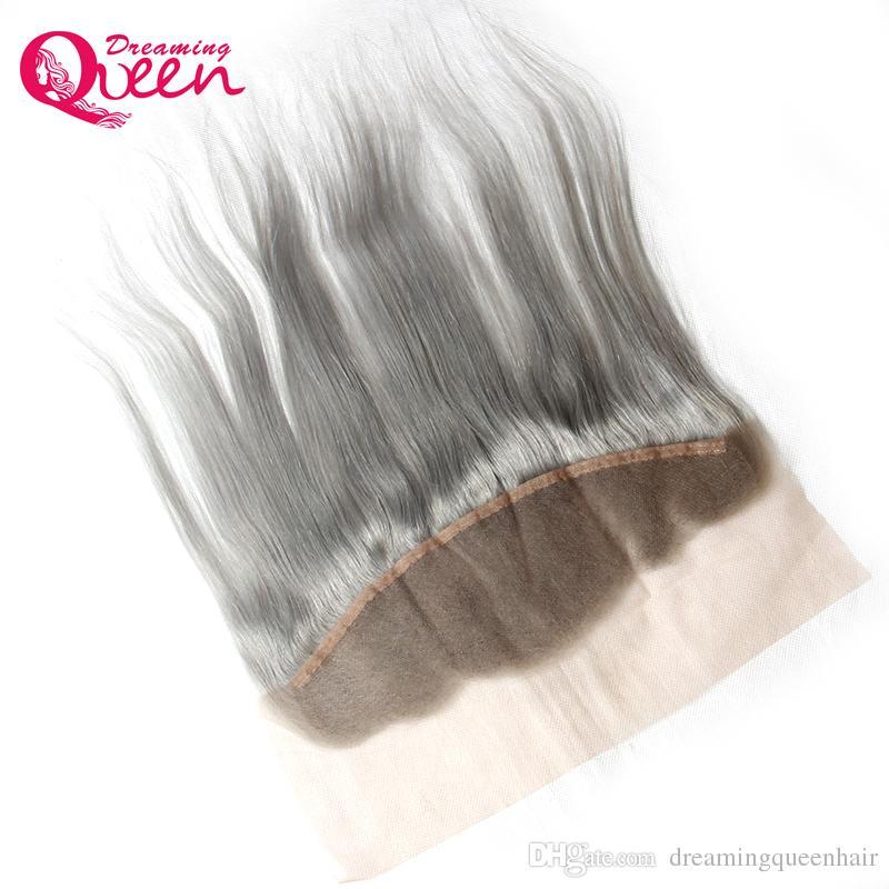Graue Farbe gerade Spitze Frontal Verschluss Ombre brasilianisches reines Menschenhaar grau 13X4 Ohr zu Ohr Spitze Frontal mit dem Babyhaar natürlich