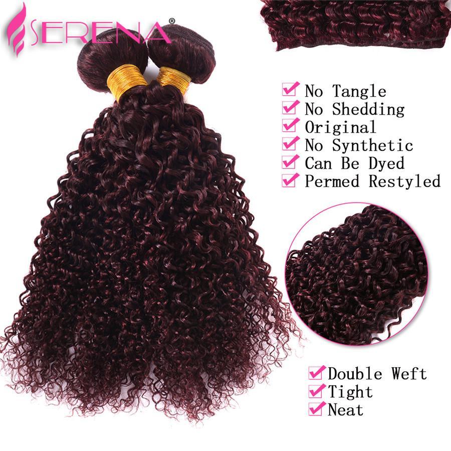 Pérou profond Curly Bourgogne cheveux humains 4 Bundles 9A année 99J Vin rouge humain Extensions de cheveux bouclés cheveux bouclés rouge Virgin bresilien Bundles