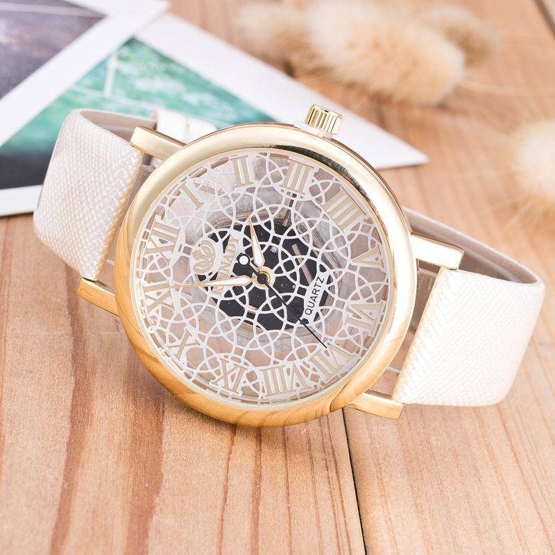 Großhandels- und populäre Art und Weise Heiße Art Frau Han-Ausgabenmänner sehen doppelseitige Aushöhlung das mechanische Uhrkursteilnehmer-Freizeitleder vor