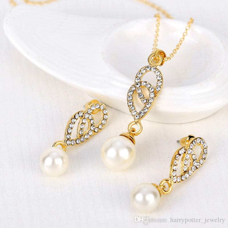 Crystal Pearl Pendant Necklace Earrings Jewelry Sets Gold Chain Necklace Bride Wedding Jewelry for Women Gift 162180