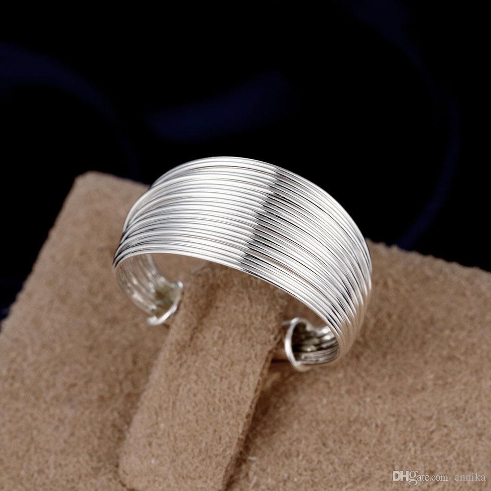 R018 Toptan 925 Gümüş Yüzük Açık Dize Parmak Yüzük Lider Lady Yeni Moda Takı Ücretsiz Kargo