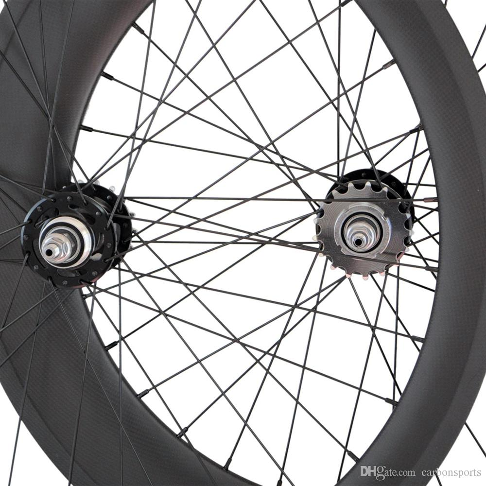 Track Fixed Gear Carbon Wheels 25mm Width Carbon Clincher/Tubular Bicycle Racing Track Single Speed Wheelset