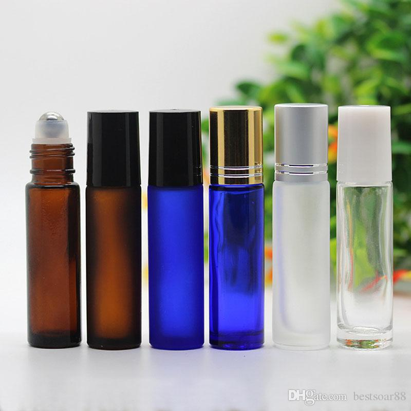 Factory Price 10ml Amber Blue Clear Roller Glass Bottles For Essential Oils Empty Roll-on Bottle Metal Roller Ball BY DHL