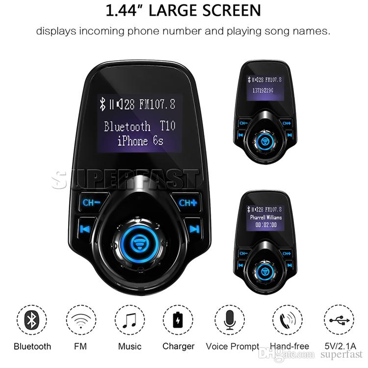 T10 Wireless Car MP3 Bluetooth Auto-Player LCD-Audio-Stereo-USB-Auto-Ladegerät FM Transmitter TF-Karte mit Kleinpaket