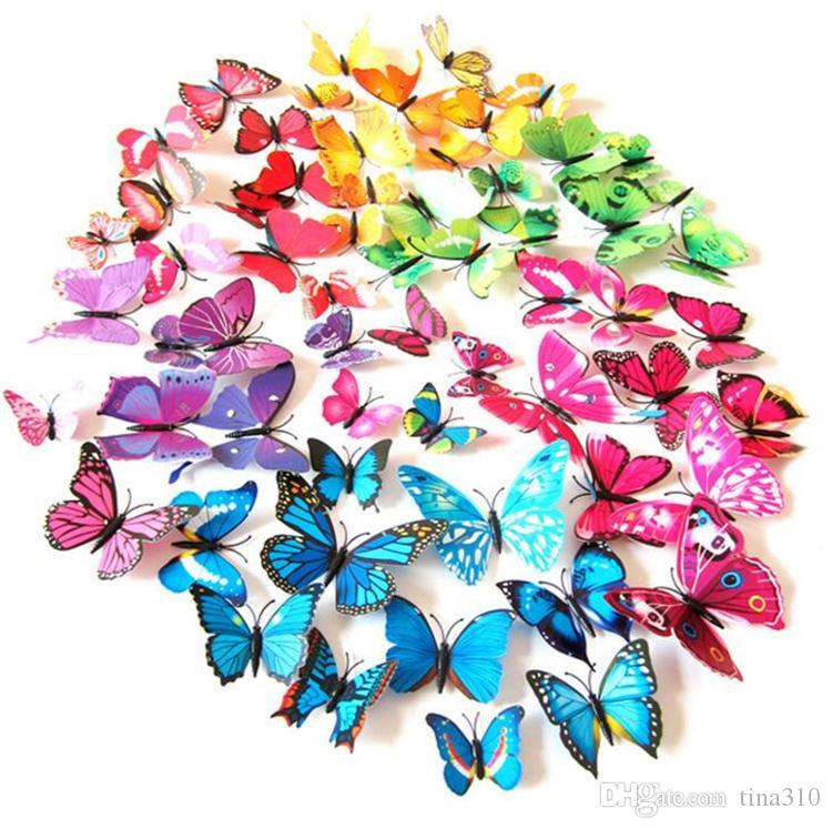 جديد جميل فراشة ثلاجة عصا 3D ملصقات 3D الفراشات البلاستيكية القابلة للإزالة ملصقات الحائط بوتيرفليس I038 الزفاف تزيين الغرفة
