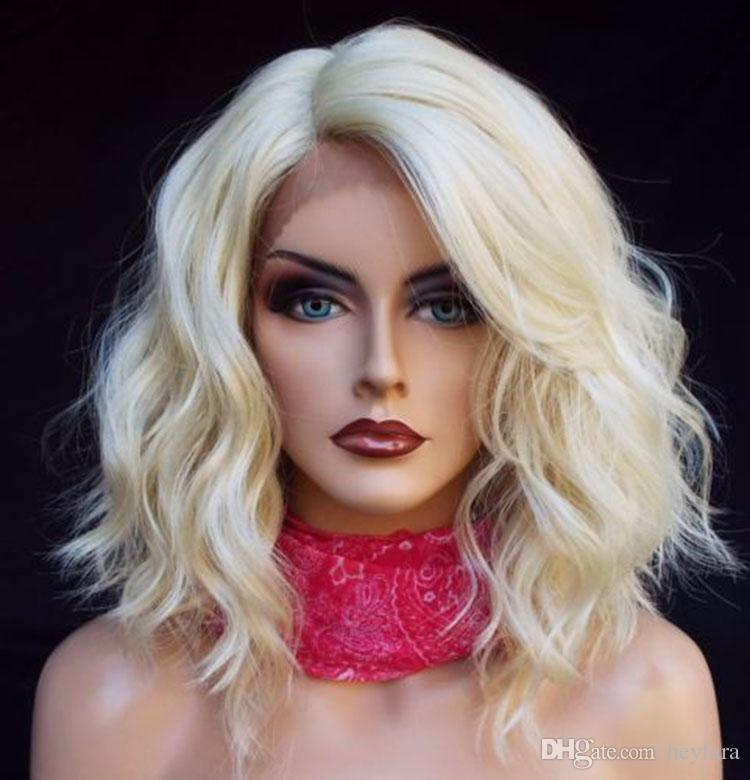 Blonde Short Bob Curly Lace Front Wig Fashion Hairstyle