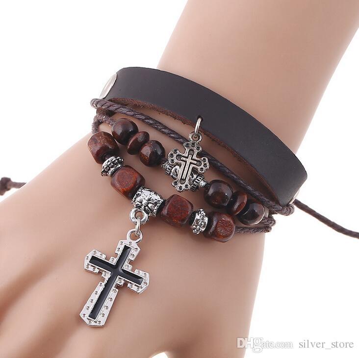 Gute A ++ Perlen Kreuz Leder Lederarmband Burst Lederarmband FB057 Mix Auftrag 20 Stück viel Charme Armbänder
