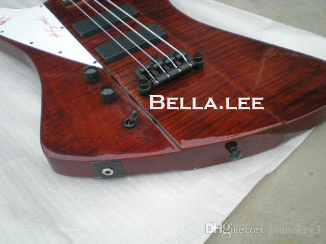 Dark red flame top 4 string firebird electric bass guitar,Made in China,bass