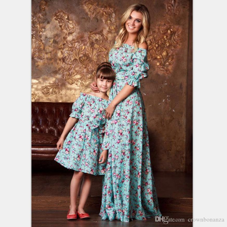 7218cfb65f161 Summer Mother and daughter dresses Maxi dress Retro Floral Off-shoulder  Autumn Half Ruffles sleeve Girls dress 1-10years European Blue