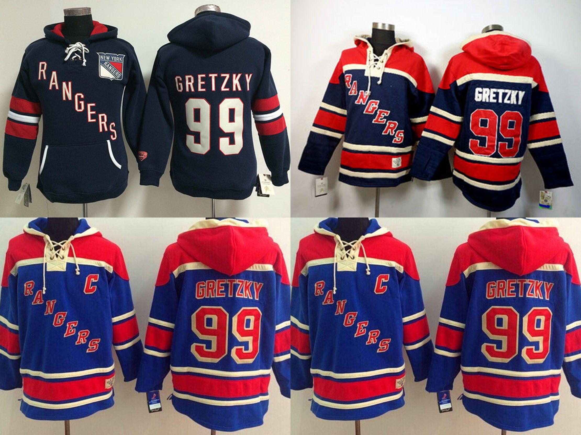 ... t shirt ddf58 dbc63  hot 2018 2016 new new york rangers mens jerseys 99 wayne  gretzky hoodies red black blue 3d5056558