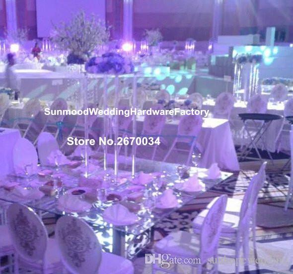 Akrilik çiçek vazo standı için trompet metal vazo düğün centerpiece dekorasyon