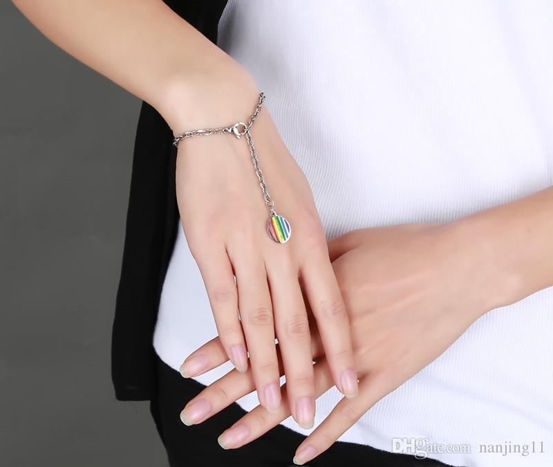 Fascino Bracciale Arcobaleno donna Fascino rotondo Bracciali con braccialetti a catena Braccialetti Gioielli in resina acciaio PB-006
