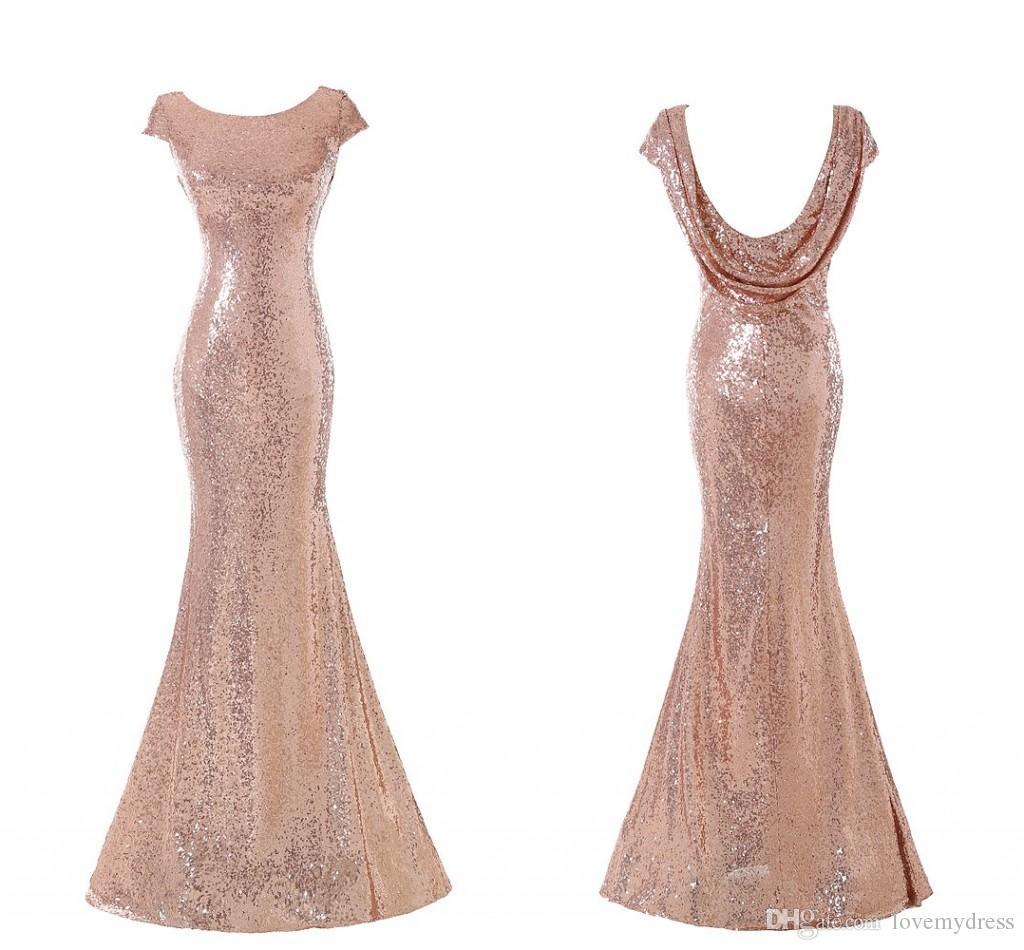 Acquista Moda Oro Rosa Con Paillettes A Sirena Vestito Da Promenade Lungo  Economico Backless Con Maniche Corte Abiti Da Cerimonia Formale Da  Damigella ... 1a38329db5a
