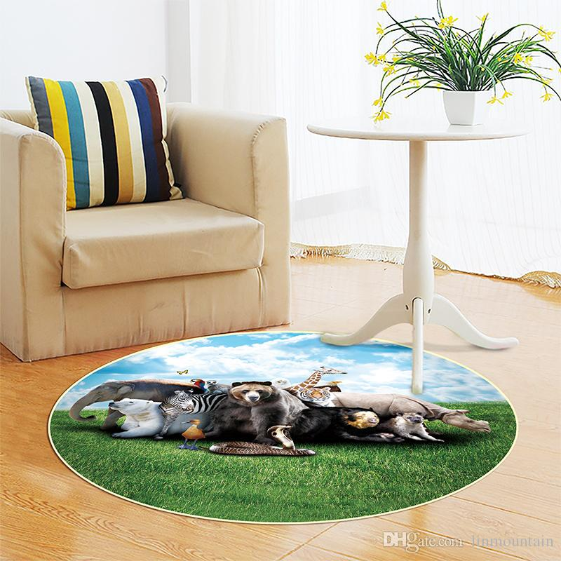 8585cm Animal Pattern Round Carpets Bedroom Living Room Coffee Table Mat Computer Chairs Hanging Basket Mats Bedside Blanket Carpet Shaw Rug Dealer From