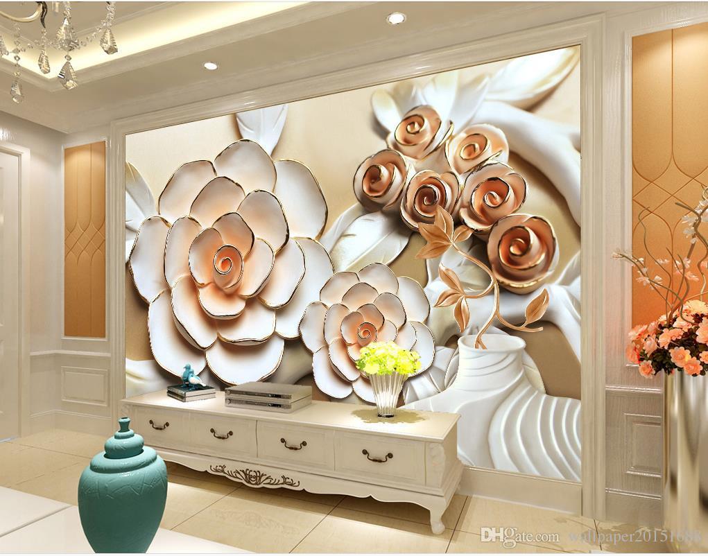 Carta Da Parati Fiori Rosa : Acquista rilievo fiore rosa murale tv murale 3d carta da parati 3d