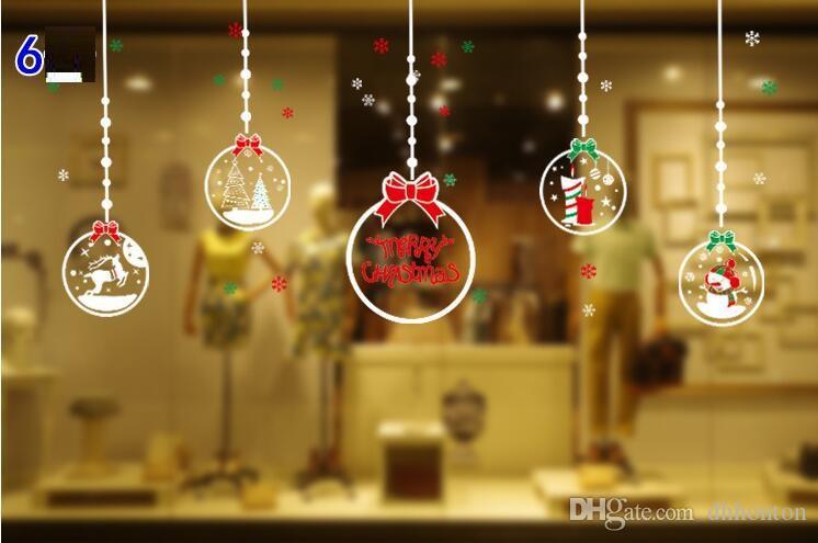 Adesivos de janela de natal 16 estilos rena janela sem cola electrostática incógnito Natal Adesivos De Parede CS002